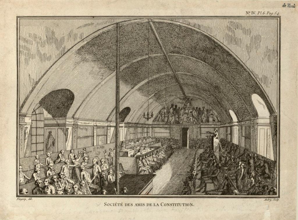 La séance du 28 février 1791 au club des Jacobins (gravure anonyme d'époque).